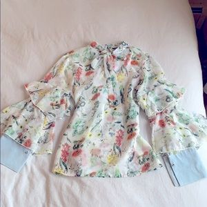 INA💚💛💙tie neck ruffle sleeve floral print Top S